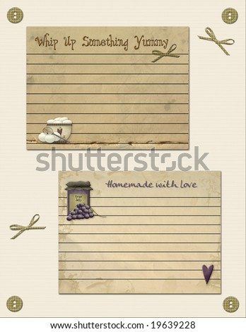 Lined recipe cards on textured parchment with stains for a well-worn look.  Plaid buttons and bows decorate the sheet. - stock photo