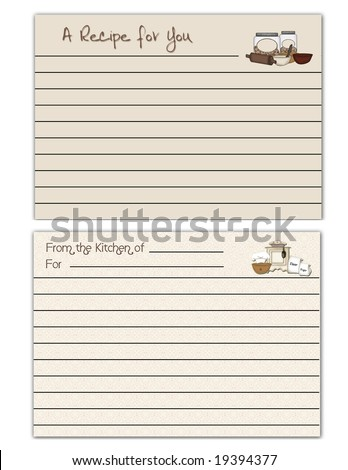 Lined recipe cards with cooking theme