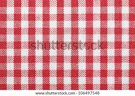 Lined red and white dining cloth