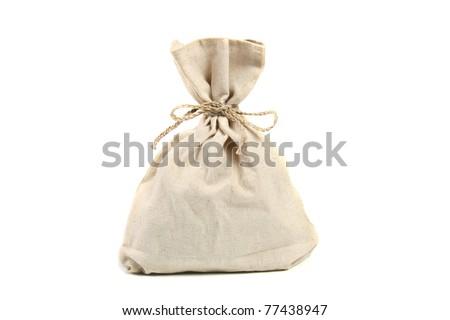 linen bag isolated on white