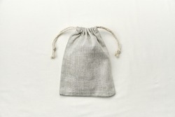 Linen bag with drawstring, small eco sack made from natural cotton fabric cloth. Lunch bag