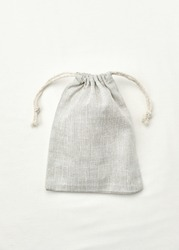 Linen bags with drawstring, small eco sack made from natural cotton fabric cloth.  Sustainable reusable bags