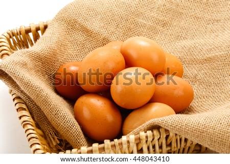 linen basket of eggs