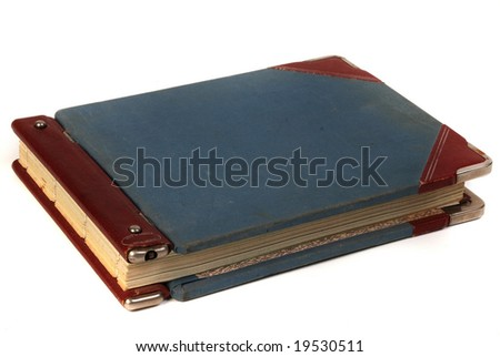 Linen blue cover of vintage handwritten  ledger book