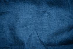 Linen  cloth blue texture background. Linen dark blue fabric. Classic blue colour trend of 2021 year.