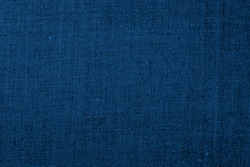 Linen  cloth blue texture background. Wrinkled Linen blue fabric. Classic blue colour trend of 2020 year.