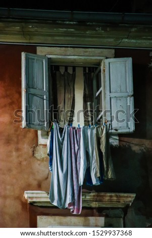 Linen dries on a rope. Drying clothes.