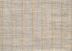 Linen fabric texture with stripes. fabric texture with a simple yellow striped embroidery.  background.