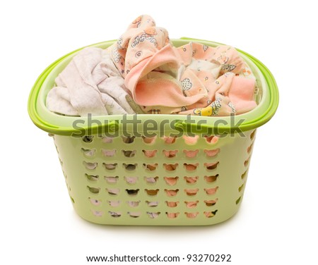 linen in a basket on a white background