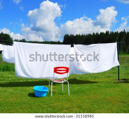 Linen on a clothesline during a sunny washday