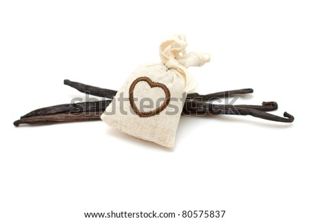 Linen pouch with spices herbs and vanilla - stock photo