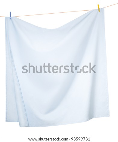 Linen sheets drying on a rope, isolated on a white background