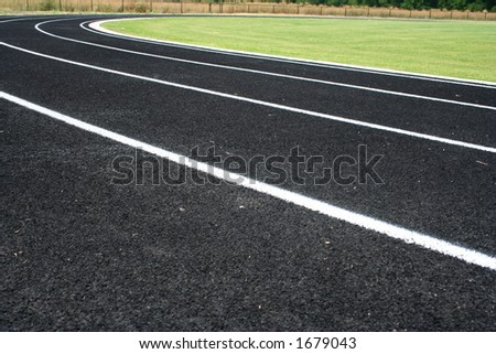 Lines and curve of a running track