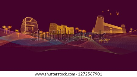 lines arts design, digital illustration, colorful line arts, saudi heritage site, saudi landmark, line graphics illustration, fine line graphics art, fine art