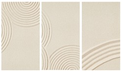 Lines drawing on sand, beautiful sandy texture. Spa background, minimal concept for meditation and relaxation. Vertical format for stories.