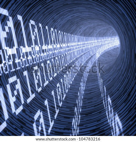 lines of binary codes traveling through the virtual tunnel