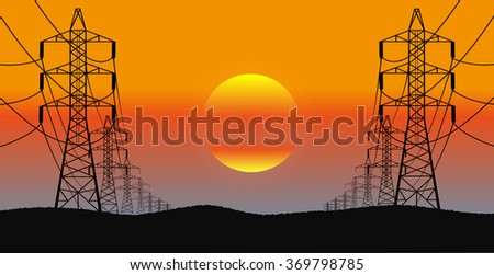lines of electricity transfers an evening landscape Photo stock ©