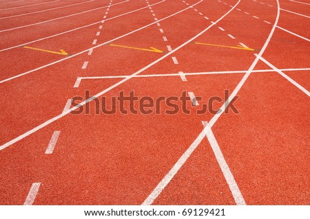 Lines of lanes on red running track
