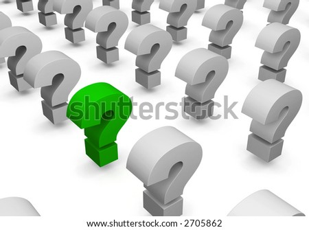 Lines of question sign - one sign marked green