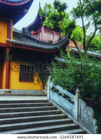 Lingyin Temple (Temple of the Soul's Retreat) complex. One of the largest Buddhist temples in China #1264587691