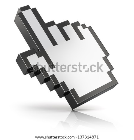 Link selection hand computer mouse cursor isolated on white background with reflection effect