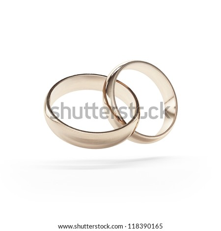 Linked gold wedding rings