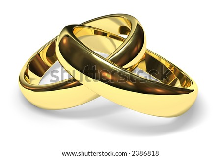stock photo linked gold wedding rings on white background