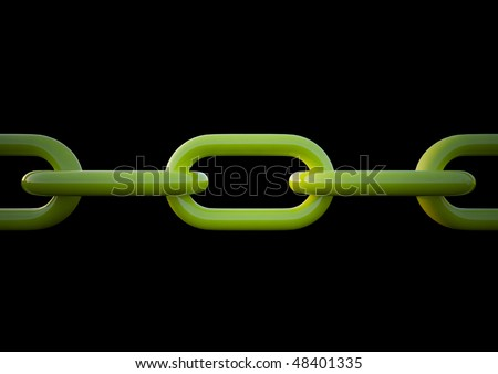 Linked Green chain curve on black background
