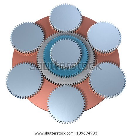 Linked Organization, enterprises structure, teamwork, meshing gears 3