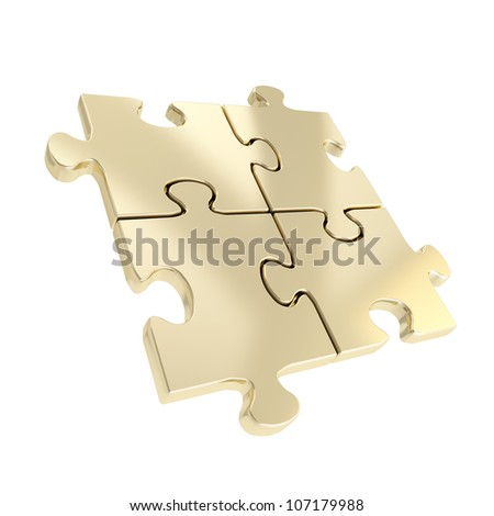 Linked puzzle four golden jigsaw pieces isolated on white