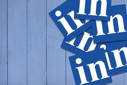 Linkedin business social networking platform logo on blue background