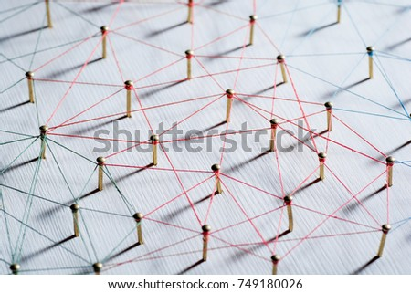 Linking entities. Network, networking, social media, connectivity, internet communication abstract. Web of thin thread on white background. #749180026