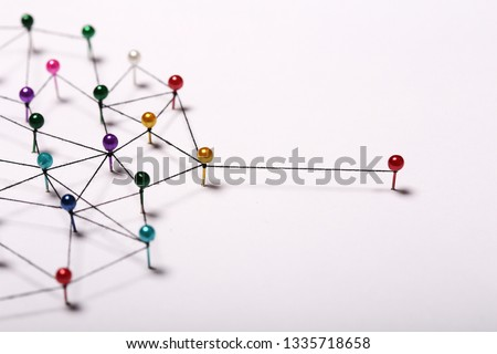Linking entities.  Networking, social media, SNS, internet communication abstract  #1335718658