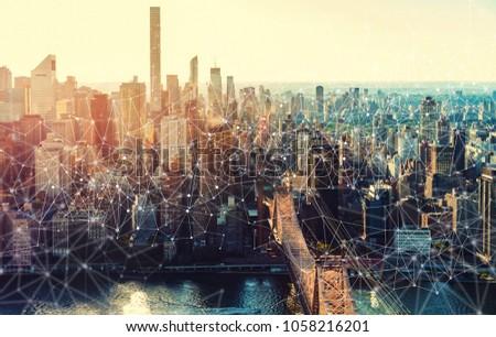Links with the New York City skyline near Midtown #1058216201