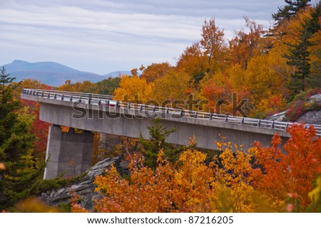 Linn Cove Viaduct, North Carolina. Colorful autumn foliage  surrounds this architectural masterpiece on the Blue Ridge Parkway near Grandfather Mountain.
