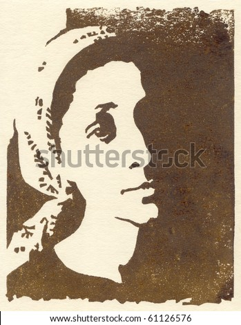 Linocut. The impression on the paper. Portrait of pensive girl