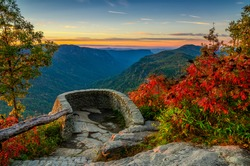 Linville Gorge, North Carolina, scenic autumn sunrise