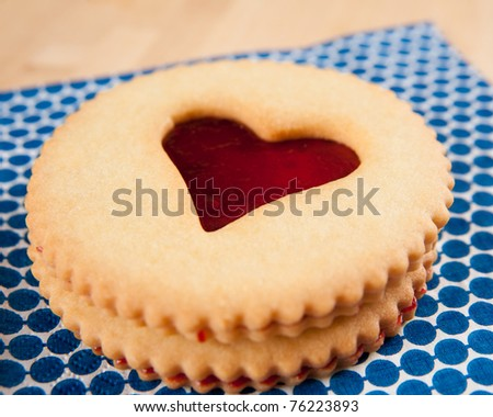 Linzer Cookies with Heart Shaped Window and Jelly filling