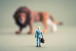 Lion and human