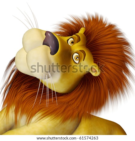 lion cartoon big cute face