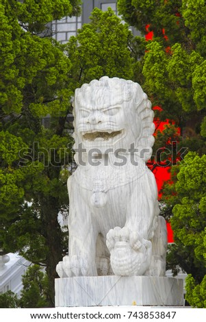 lion carved from marble