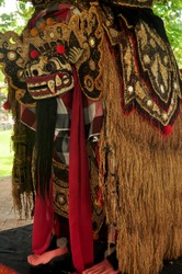 Lion costume bali style for indonesian people wear dancing in legong and barong waksirsa dance for show travelers people at Ubud city in Bali, Indonesia