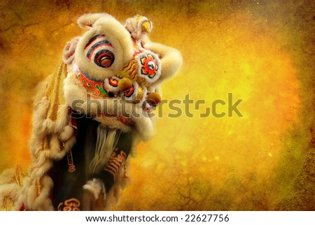 lion dance isolated on highly detailed textured grunge background frame