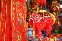 Lion dance. Small lion dance hanging for display in China Town. Decorations for a Chinese Lunar New Year.