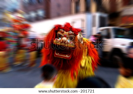 Lion dancer in New York Chinatown Lunar New Year Parade 2005