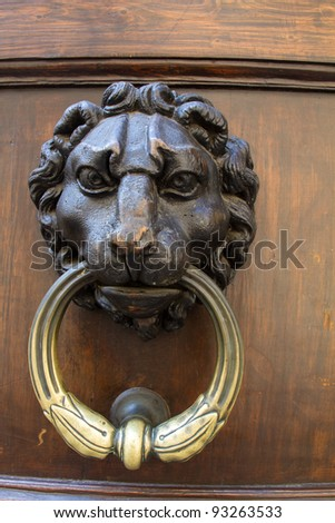 Lion Door knocker in Florence Italy