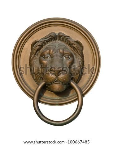 Lion door knocker isolated on white