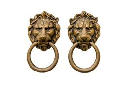 lion - door knocker on white background.