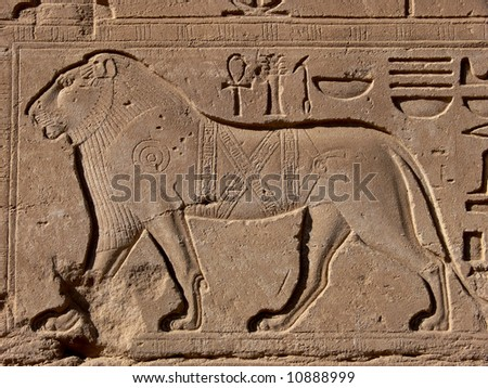 Lion - egyptian basrelief and hieroglyphs in Karnak temple, Luxor, Egypt