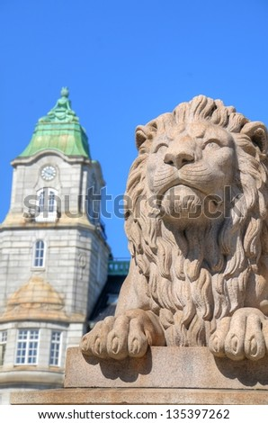 Lion figure by the Parliament of Norway in Oslo, Norway